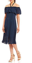 Jones New York Off-The-Shoulder Lazer Cut-Out Eyelet Pattern A-Line Dress