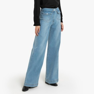 """La Redoute Collections Wide Leg Jeans with Front Flap Pockets, Length 31.5"""""""