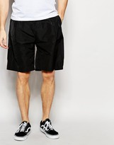 Asos Oversized Shorts In Nylon With Pleat In Black