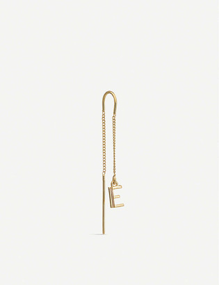 Rachel Jackson Art Deco Initial 'E' 22ct yellow gold-plated sterling silver threader earring