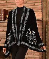 Paparazzi Black & Beige Velvet Floral Embroidered Swing Jacket
