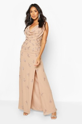 boohoo Bridesmaid Hand Embellished Cowl Detail Maxi Dress