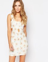 AX Paris Cut Out Front Dress in Textured Sunflower Print