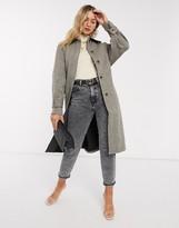 Vila belted wool coat in herringbone