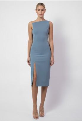 Aq/Aq Elly Asymmetric Neckline Midi - Slate Blue