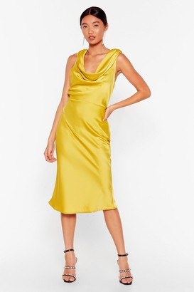 Nasty Gal Womens Can We Dance Cowl Midi Dress - Lime