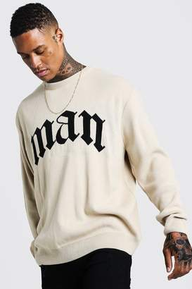 BEIGE BoohoomanBoohooMAN Mens Oversized Gothic MAN Knitted Jumper,
