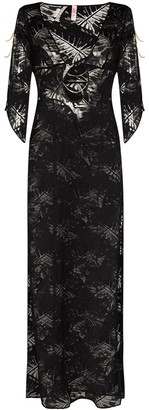 Sheer Leaf Pattern Midi Dress