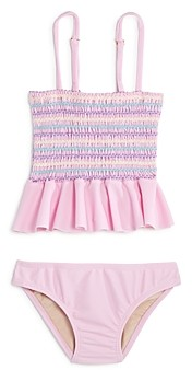 Clements Twins X Pq Swim Pq Swim Girls' Smocked Ruffled Two-Piece Swimsuit, Little Kid, Big Kid - 100% Exclusive