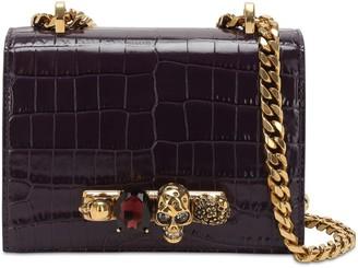 Alexander McQueen Jeweled Croc Embossed Satchel Bag