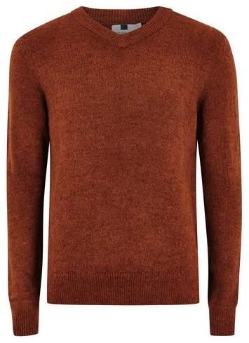 Topman Mens Brown Rust V Neck Sweater