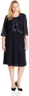 Maya Brooke Women's Plus-Size Side Ruffle Metallic Detail Jacket and Dress Set