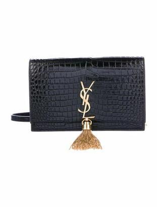Saint Laurent 2019 Embossed Kate Monogram Wallet On Chain Black