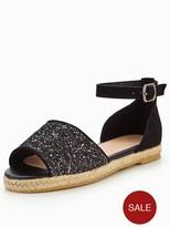 Very Millie Glitter Espadrille - Black