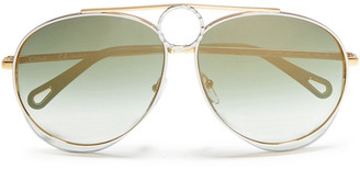 Chloé Aviator-style Gold-tone And Acetate Sunglasses