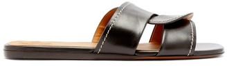 Chloé Candice Square-toe Leather Slides - Womens - Black