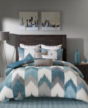 INK+IVY Closeout! Alpine Cotton Reversible Full/Queen Chevron Stripe Print Duvet Mini Set Bedding