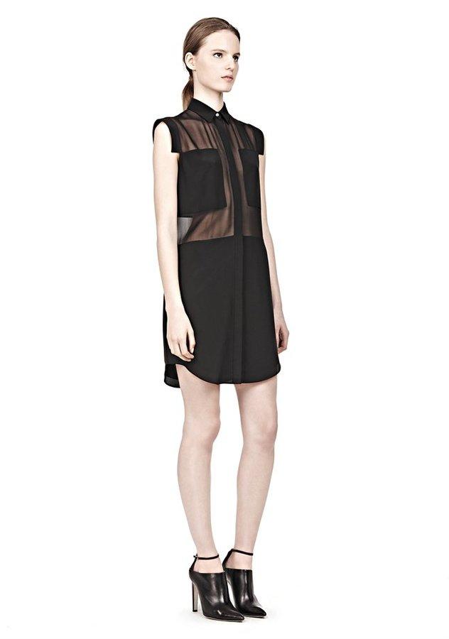 Alexander Wang Silk Chiffon & Cdc Combo Shirtdress