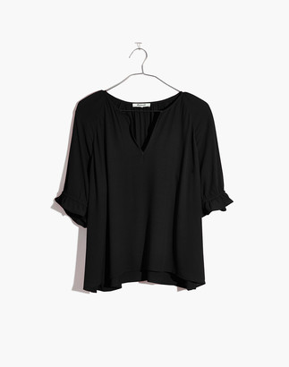 Madewell Notched Ruffle-Cuff Top