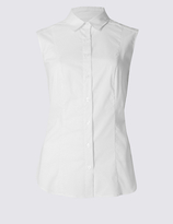 M&S Collection Cotton Rich Sleeveless Shirt