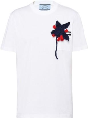 Prada knitted-flower T-shirt