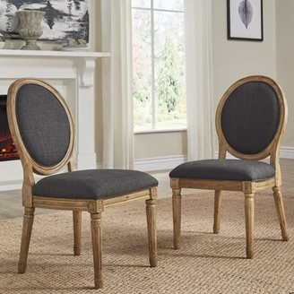 Ophelia Lachance Round King Louis Back Upholstered Side Chair & Co. Upholstery Color: Dark Gray