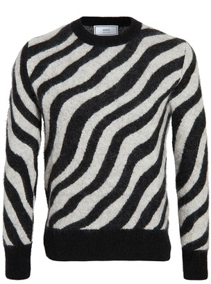 Ami Mohair Zebra Stripe Crew Neck Sweater