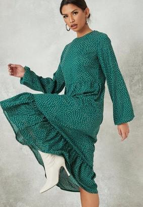 Missguided Green Printed Midi Smock Dress