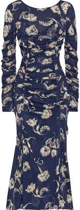 Diane von Furstenberg Corinne Ruched Floral-print Stretch-mesh Midi Dress