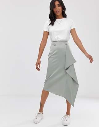 Asos Design DESIGN satin waterfall wrap midi skirt-Blue