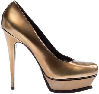 Saint Laurent Gold Patent leather Heels