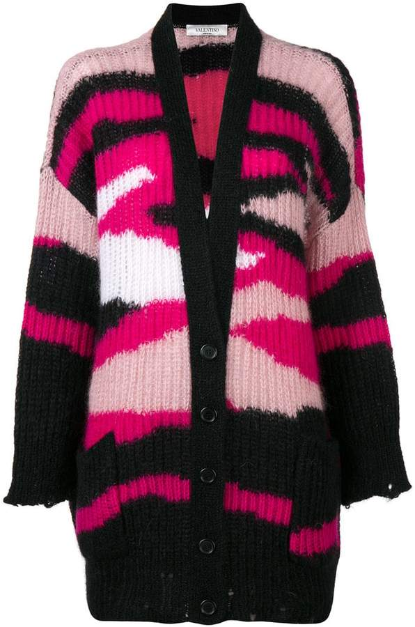 Valentino ribbed knit patterned cardigan