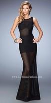 La Femme Sheer Striped Overlay Prom Dress