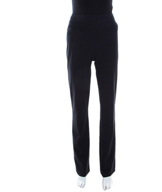 Escada Navy Blue Stretch Crepe Straight Leg Tritara Trousers M