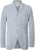 Aspesi Blue Slim-Fit Striped Cotton-Seersucker Blazer