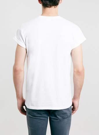 Topman White High Roll Sleeve T-SHIRT