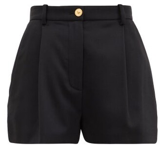 Versace Pleated-front Wool-blend Shorts - Black