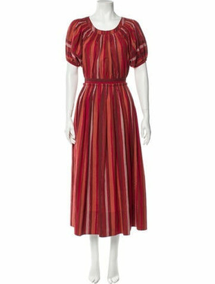 Ulla Johnson Striped Long Dress Metallic