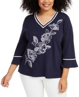 Alfred Dunner Plus Size Embroidered Easy Street Top