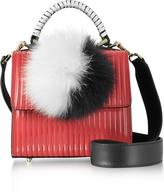 Les Petits Joueurs Red Pleated Leather Baby Alex Satchel w/Fur Pom-Pom