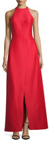 Halston Sleeveless Structured Taffeta Gown, Scarlet
