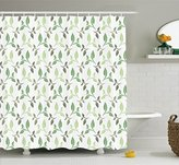 Leaves Decor Shower Curtain Set by Ambesonne, Elegant Tea Leaves with Ornamental Vintage Design Stylish Soft Faded Colors, Bathroom Accessories, 84 Inches Extralong, Green