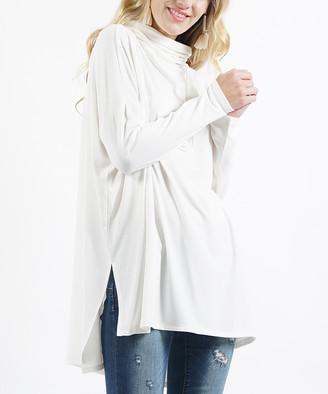 Lydiane Women's Tunics IVORY - Ivory Cowl Neck Dolman-Sleeve Hi-Low Top - Women