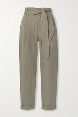 Apiece Apart Bendita Linen And Cotton-blend Twill Tapered Pants - Army green