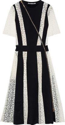 Stella McCartney Ariel Paneled Silk-crepe And Lace Dress