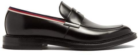 Gucci Beyond Web Striped Embellished Leather Loafers - Mens - Black Multi