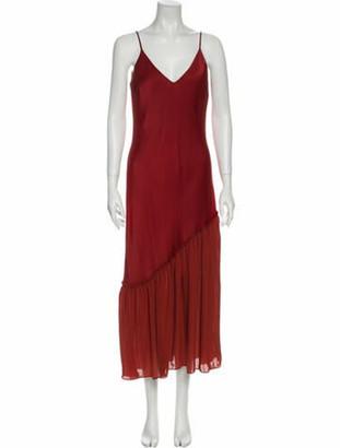 Frame V-Neck Long Dress Red V-Neck Long Dress