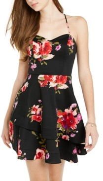 Sequin Hearts Juniors' Floral Double-Ruffle Dress