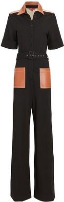 STAUD Davey Ponte Short Sleeve Jumpsuit
