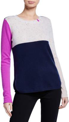 LISA TODD Block Shock Colorblock Crewneck Cashmere Sweater